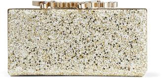 Jimmy Choo CELESTE/S Moon Sand Infinity Glitter Fabric Clutch Bag with Crystal Clasp