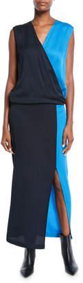Zero Maria Cornejo Jazmin Two-Tone Eco Drape Sleeveless Midi Dress