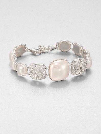 Majorica 10MM and 18MM Mabé Pearl Sparkle Bracelet