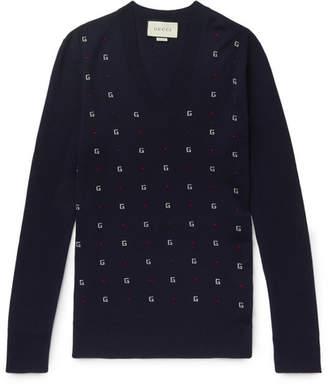Gucci Slim-Fit Logo-Intarsia Wool Sweater
