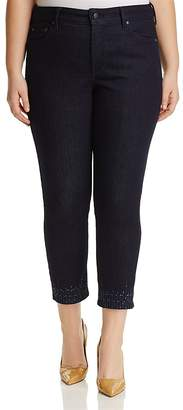 NYDJ Plus Sheri Embroidered Slim Ankle Jeans in Rinse