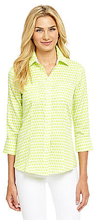 Foxcroft Ikat-Dot Sateen Shirt