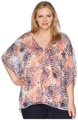 NYDJ Plus Size Plus Size Chiffon Caftan Popover Women's Clothing