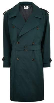 Topman Mens Green Teal Oversized Double Breasted Mac