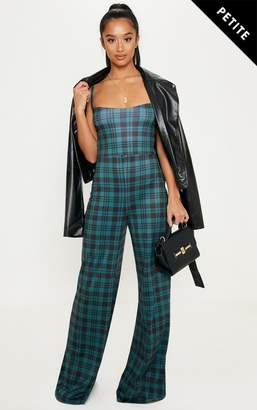 PrettyLittleThing Petite Red Strappy Tartan Wide Leg Jumpsuit