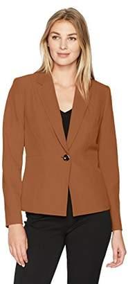 Kasper Women's Stretch Crepe Notch Lapel 1 Button Jacket