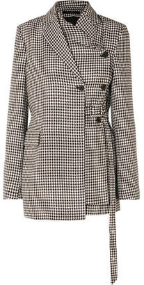 Rokh - Layered Belted Houndstooth Tweed Blazer - Gray