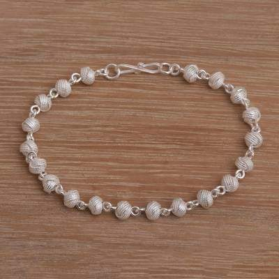 Woven Eternity Sterling Silver Link Bracelet from Indonesia