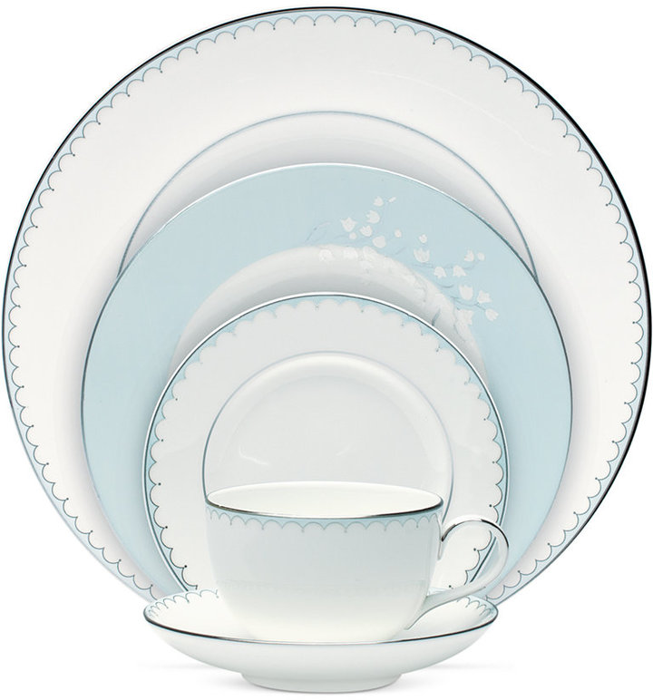 Monique Lhuillier Waterford Dinnerware, Lily of the Valley Blue 5 Piece Place Setting