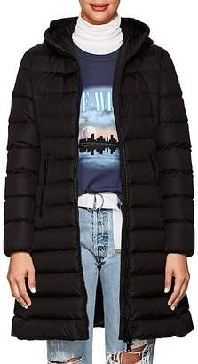 Moncler Women's Leather-Trimmed Down-Quilted Coat