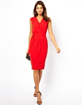 Asos Midi Dress With Double V Neck - Red