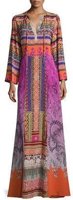 Etro Ribbon-Print Tie-Neck Peasant Gown, Purple $2,925 thestylecure.com