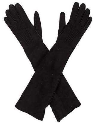 Bottega Veneta Long Suede Gloves Black Long Suede Gloves