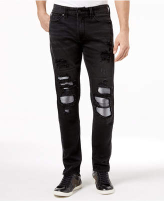 GUESS Men's Slim Tapered Ripped Moto Stretch Jeans