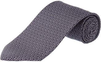Salvatore Ferragamo Grey Gancio Silk Tie