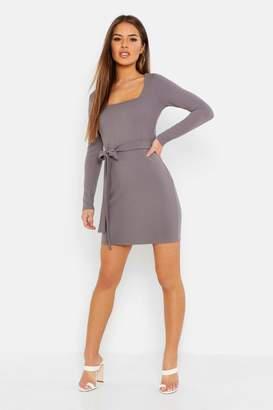 boohoo Petite Slinky Long Sleeve Belted Bodycon Dress