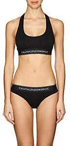 Calvin Klein Women's Logo Cotton-Blend Bralette - Black