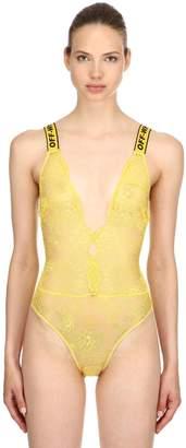 Off-White Off White Logo Straps Lace Bodysuit