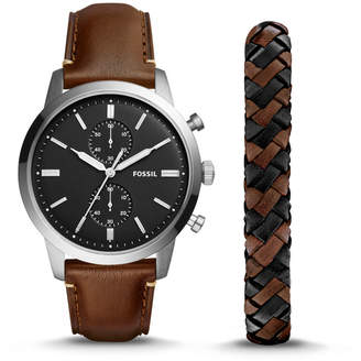 Fossil Townsman 44mm Chronograph Brown Leather Watch and Jewelry Box Set