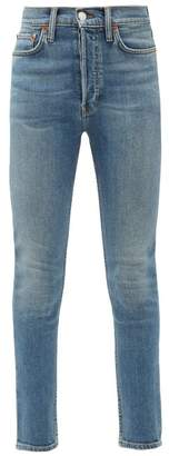 RE/DONE High Rise Cropped Slim Leg Jeans - Womens - Blue