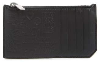 Saint Laurent Fragments Stamp Leather Zip Wallet
