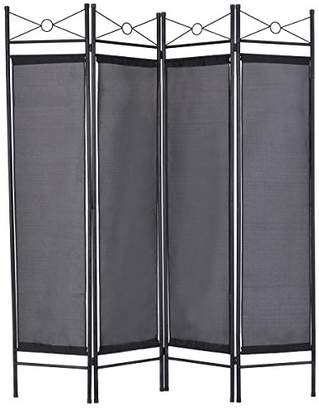 Giantex 4 Panel Folding Room Divider Screens Steel Frame & Fabric Surface Freestanding Room Dividers and Folding Privacy Screens Home Office