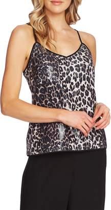 Vince Camuto Elegant Stripe Leopard Sequin Camisole