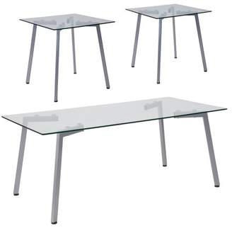 Roxbury Collection Flash Furniture 3 Piece Coffee and End Table Set with Glass Tops and Silver Metal Legs