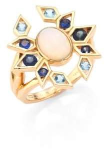 Ron Hami Plumage Opal, Blue Sapphire, Aquamarine& 18K Yellow Gold Cocktail Ring