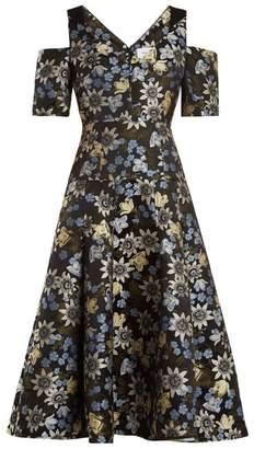 Erdem Yamal Floral Jacquard Dress - Womens - Black Multi
