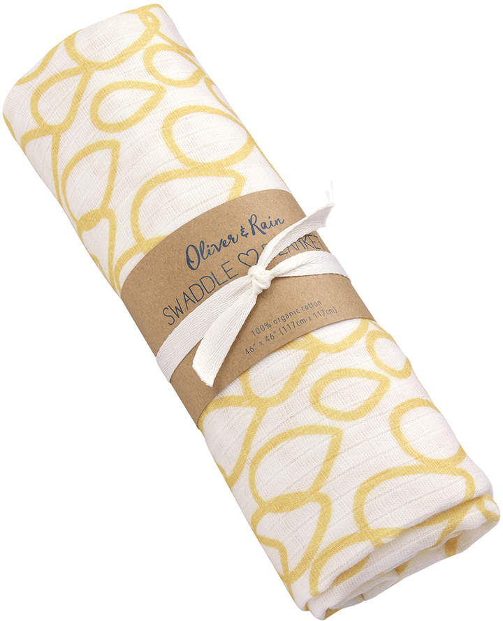 Yellow Raindrop Organic Muslin Cotton Swaddle Blanket