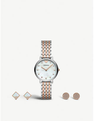 Emporio Armani AR80019 gold and silver-tone stainless steel watch and earrings gift set