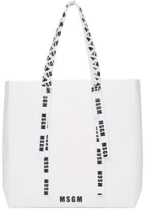 MSGM White Large Logo Ribbon Shopper Tote