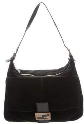 Fendi Suede Shoulder Bag Black Suede Shoulder Bag