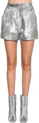 Roberto Cavalli High Waist Metallic Leather Shorts