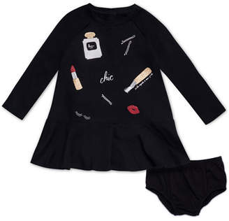 Kate Spade Glamour Collage Long-Sleeve Dress W/ Bloomers, Size 12-24 Months