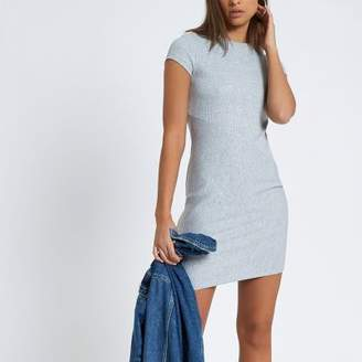 River Island Womens Grey cap sleeve ribbed fitted dress