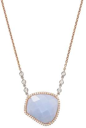 Meira T 14K Rose and White Gold Chalcedony Necklace with Diamonds, 14""