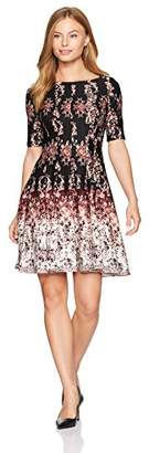 Julian Taylor Women's Petite Chandelier Printed Fit and Flare Dress