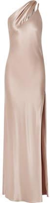 BEIGE Michelle Mason - One-shoulder Silk-charmeuse Gown