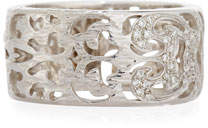 Marco Dal Maso Men's Warrior 18K White Gold Carved Band Ring with Diamonds