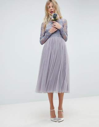 Asos DESIGN Bridesmaid embroidered mesh midi dress