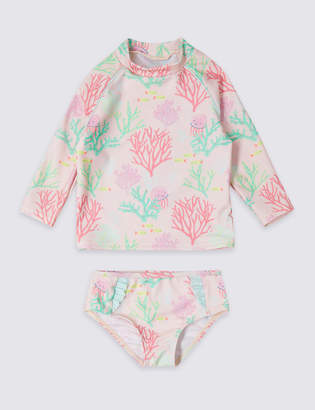 Marks and Spencer 2 Piece Swimsuit Set with Sun Smart UPF50+ (3 Months - 7 Years)