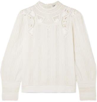437684d118d635 Sea Aster Lace-trimmed Cotton-blend Blouse