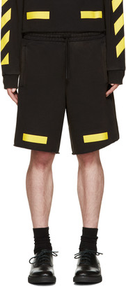 Off-White Black & Yellow Arrows Shorts $250 thestylecure.com