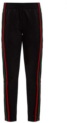 Wales Bonner Striped Crochet Detailed Track Pants - Womens - Black Multi