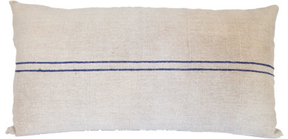Blue Grain Sack Pillow