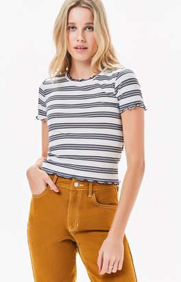 LA Hearts Mock Neck Striped T-Shirt