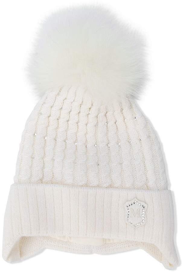 Monnalisa pom pom knitted hat