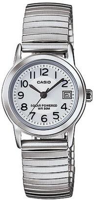 Casio Women's Solar-Powered Easy Reader Silver Bracelet Watch